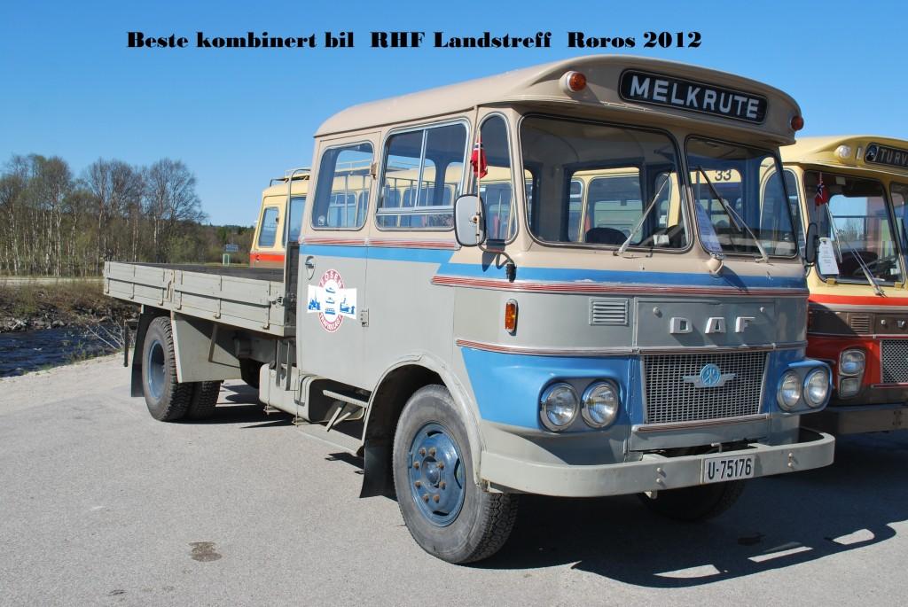 U-75176 DAF A1600DF Berg 1969 Melkeruta er en kombinert buss/lastebil som var vanlig på Trønderske veier for en del år siden. Denne har åpent lasteplan og ble brukt som melkerute på Fosen, men kunne i tillegg ta med noen passasjerer. Den tilhørte Fosen Trafikklag og er bevart i original stand.